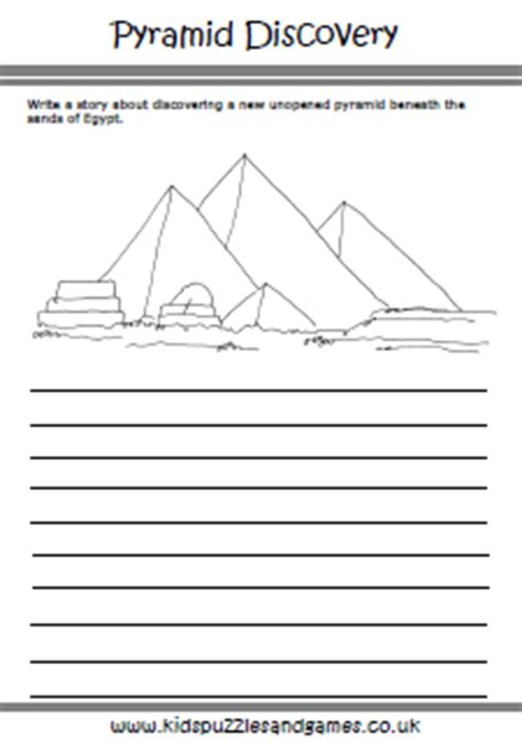 ancient egypt printable writing paper egyptian pyramid story paper kids puzzles and games