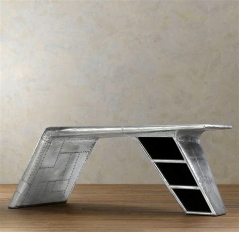 used aviator wing desk for sale modern airplane wing desk from restoration hardware