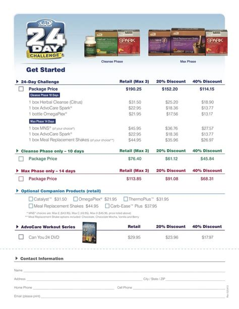 advocare 24 day challenge sheet 24day challenge pricing www advocare 120122379