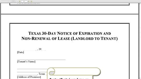 Letter Of Non Lease Renewal Sle 30 Day Notice Of Expiration And Non Renewal Of Lease Landlord To Tenant