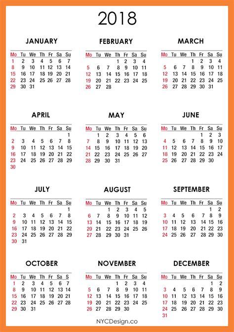 2018 calendar template print blank calendar 2018 yearly calendar