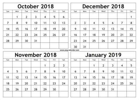 print october november december  january  calendar
