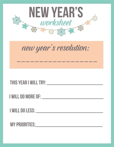 printable writing happy new year new year s resolution worksheet printable the best ideas