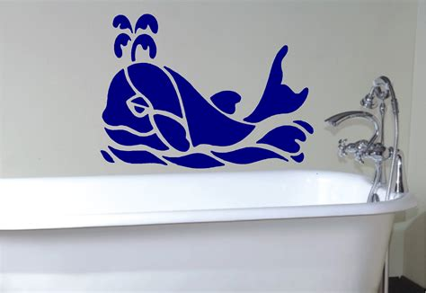 bathroom wall art stickers whale stencil style wall art sticker decal bathroom ebay