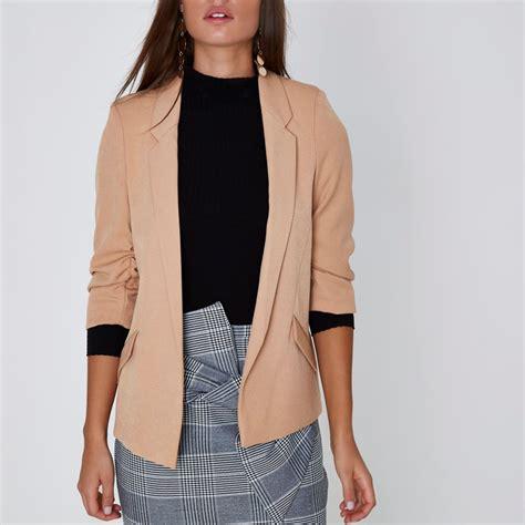 Sleeve Blazer camel ruched sleeve blazer blazers coats jackets