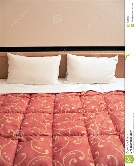 two pillows on bed stock photo image of domestic room bed with two pillows royalty free stock image image 1423986