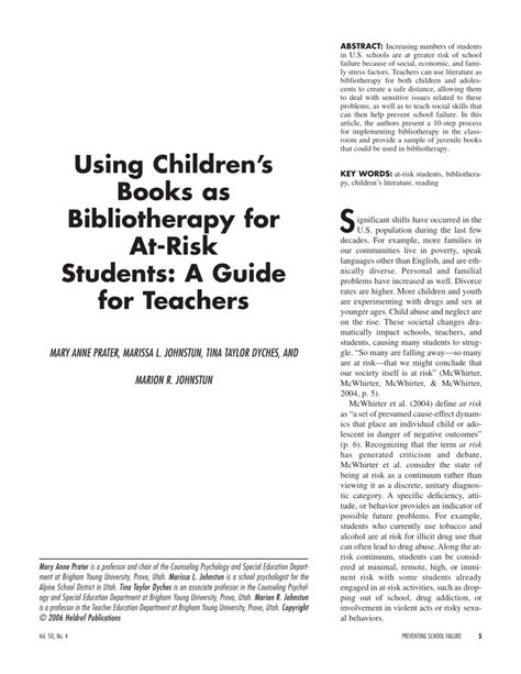 abstract thesis about child and adolescent using children s books as bibliotherapy for at risk