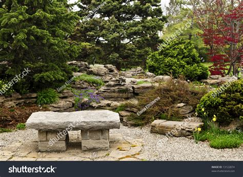 japanese stone bench japanese zen garden with natural stone bench stock photo