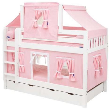 maxtrix bunk bed pink and white tent bunk bed in white by maxtrix kids 700 2