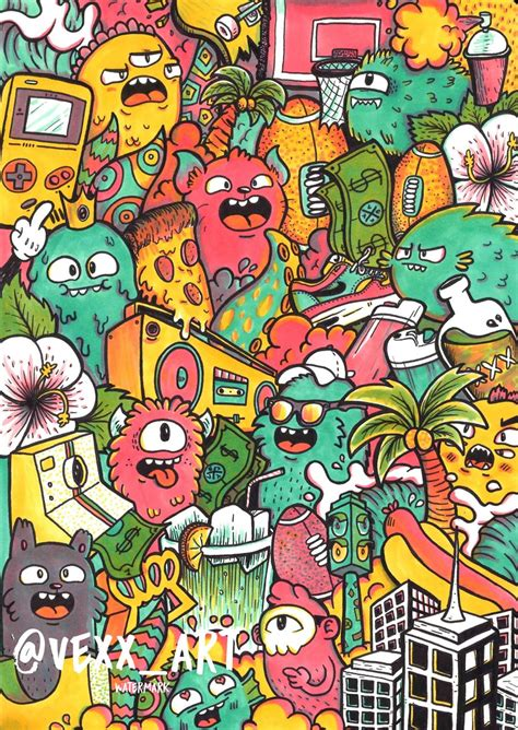 doodle characters monsters colored doodles no 1 limited edition signed embossed vexx art
