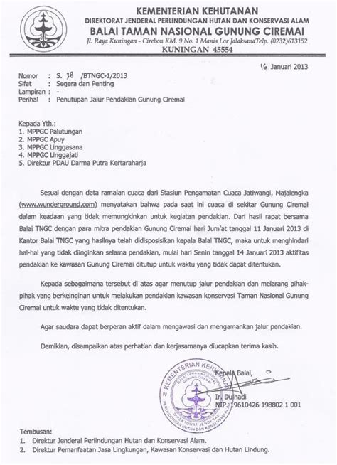 Contoh Surat Perintah Pt Duta Mandiri by Infogunung On Quot Surat Edaran Resmi Penutupan Jalur