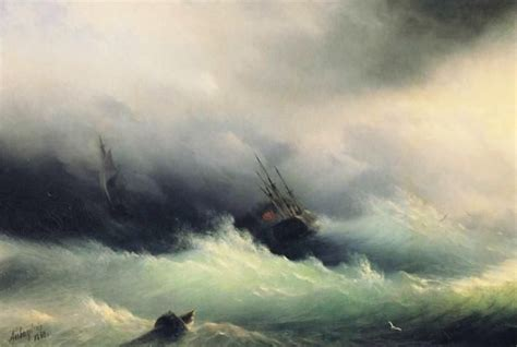 ivan aivazovsky navi   tempesta dipinti  mare