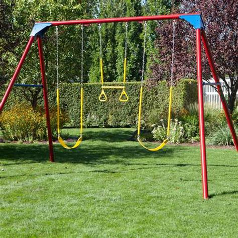swing set metal frame heavy duty a frame metal swing set 90200 primary colors