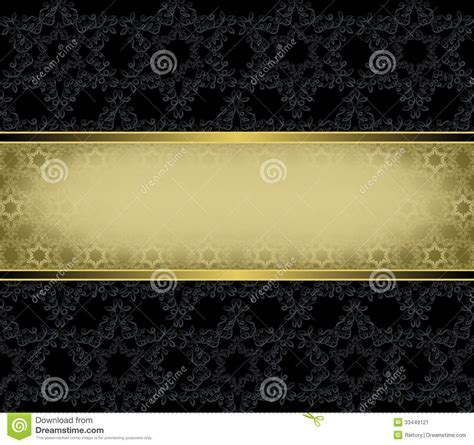 gold rectangular frame   black background stock image