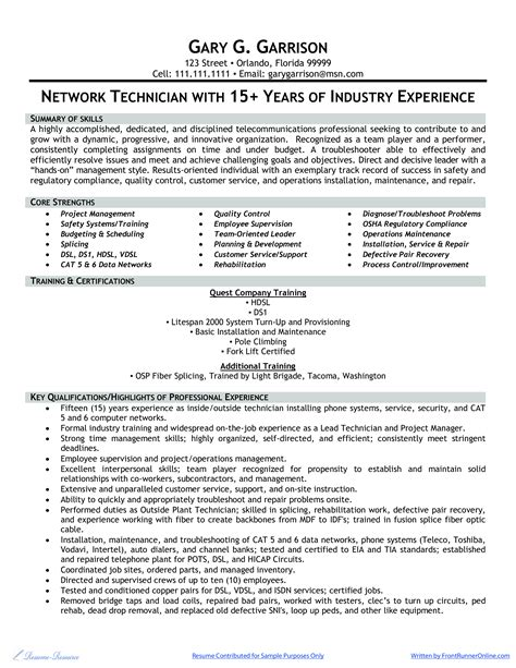 microsoft word network technician sample