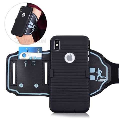 for iphone xs max 6 5 inch stripe pattern sport armband pc tpu hybrid phone cover