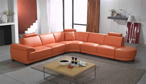 2239 contemporary orange leather sectional sofa