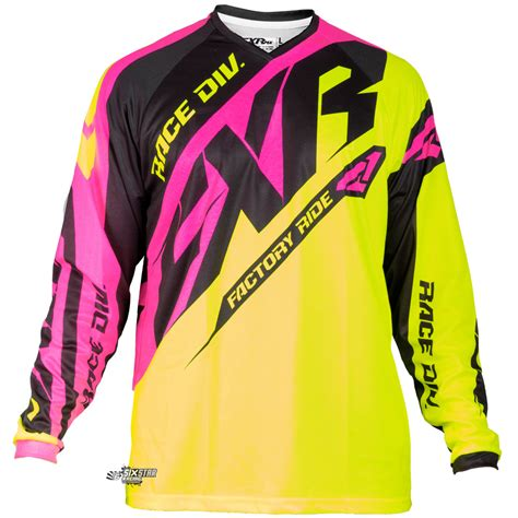 pink motocross jersey 2018 fxr racing clutch mx prime jersey yellow pink black