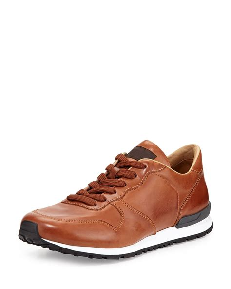 brown leather sneaker tod s runner burnished leather sneaker in brown for lyst