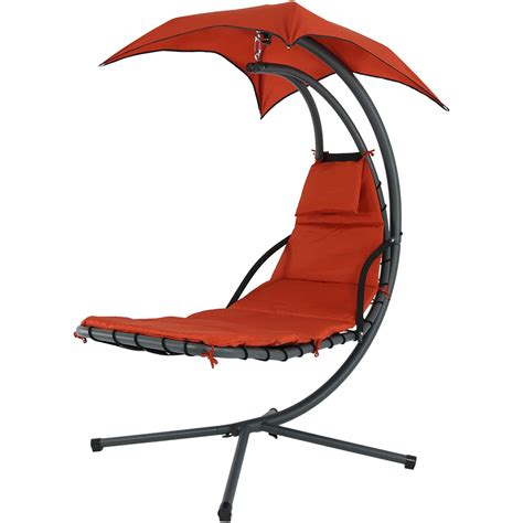 umbrella swing chair sunnydaze floating chaise lounger swing chair with canopy