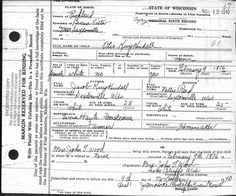 Birth Records Wisconsin Otie Kuykendall Fry