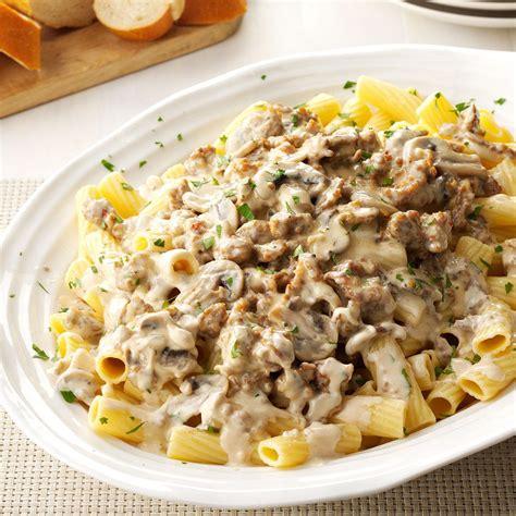 pasta sausage creamy sausage mushroom rigatoni recipe taste of home