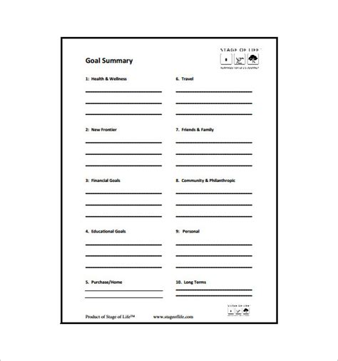 goal chart template 9 free sle exle format