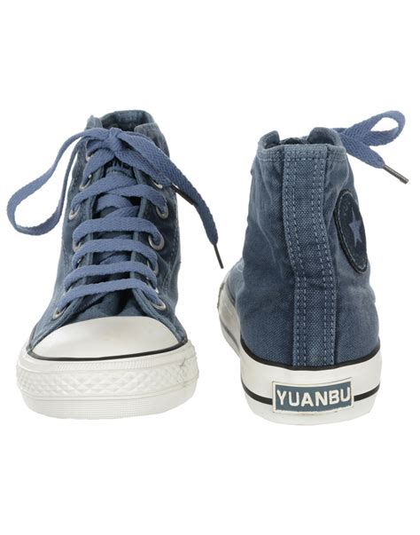 mens denim blue ankle lace up canvas shoe buy casual