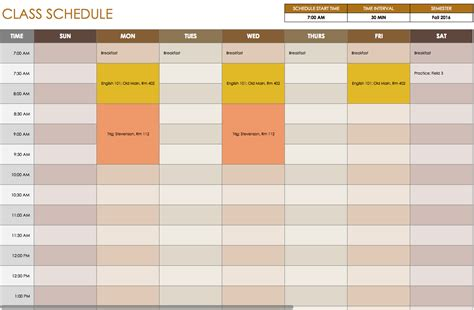 Free Daily Schedule Templates For Excel Smartsheet Classroom Schedule Template