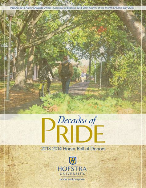 Hofstra Mba Class Profile by Decades Of Pride 2013 2014 Honor Roll Of Donors By