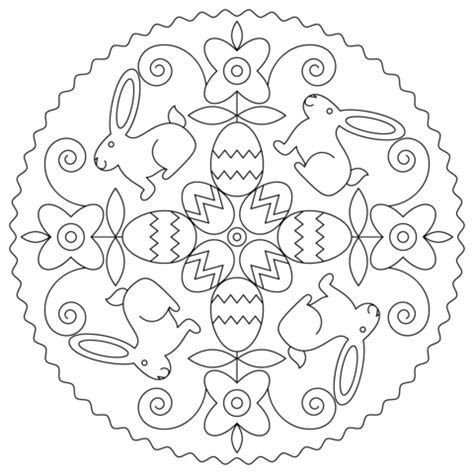 easter mandala coloring page easter mandala with bunny and eggs coloring page free