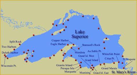 lake superior map map of lake superior lighthouses everything u p lakes maps and lighthouses