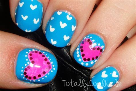 easy nail art pink and blue simple pink and blue valentine s day nails short nails