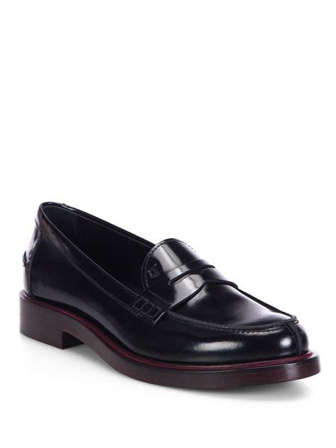 loafer black tod s patent leather loafers in black lyst