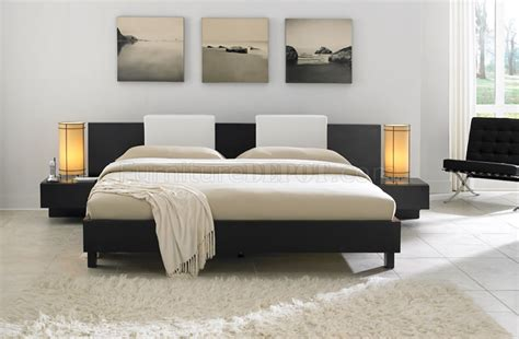 monroe bed nightstands white headrest pillows wenge wenge finish contemporary monroe platform bed w backrest