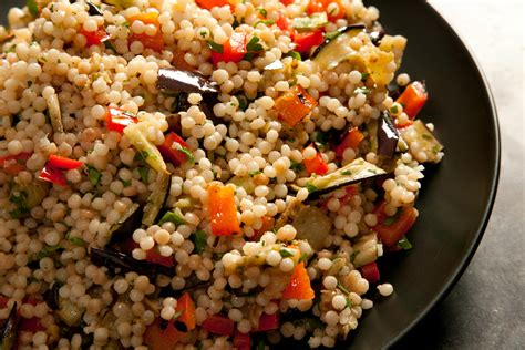 grilled eggplant and red pepper with israeli couscous recipe chowhound