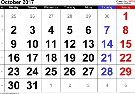 A Calendar For The Month Of October 2017 Calendar October 2017 Uk Bank Holidays Excel Pdf Word