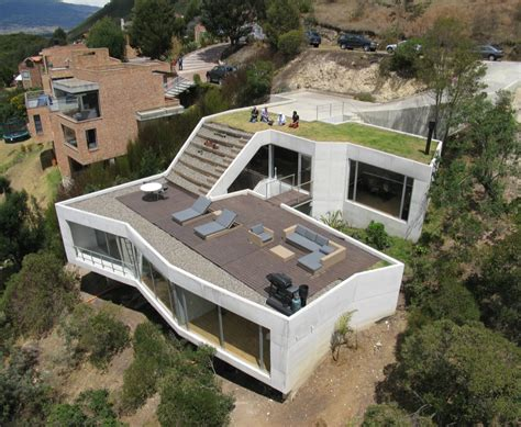 molecular structure modern house geometrical sloping site