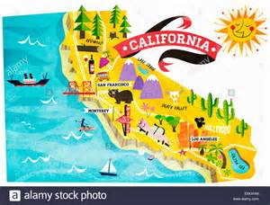california map with tourist attractions map of tourist attractions in california stock photo
