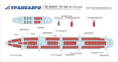 747 Floor Plan by Transaero Russian Boeing 747 400 Aircraft Seating Chart