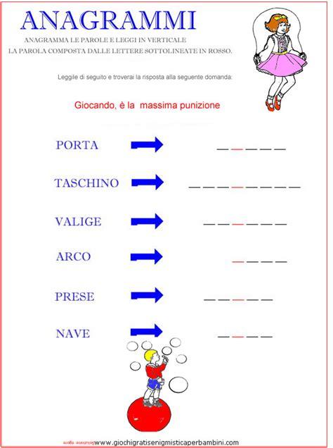 anagrammi lettere giochi linguistici per bambini scuola primaria da stare