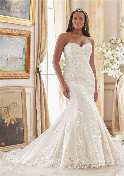 elegant mermaid sweetheart lace  size wedding dress