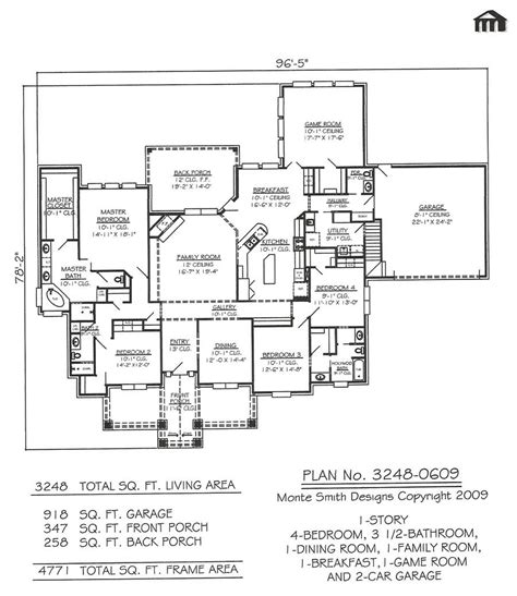 house plans with game room 3248 0609 square feet 4 bedroom 1 story house plans