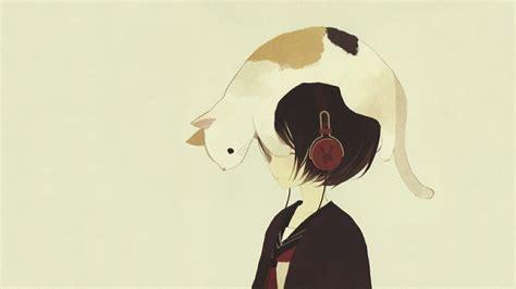 wallpaper cat drawn headphones headphones girl anime drawn cats drawn 1366x768