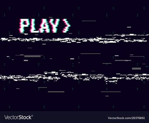 play in background vhs glitch play effect background retro playback vector image
