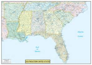 map of the southeast united states southeastern united states executive city county wall map