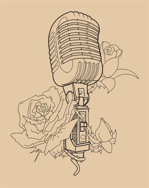 microphone fiend tattoo microphone music roses vintage tattoos pinterest