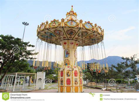 amusement park swing ride empty chairs of ferris wheel stock photo image 61836803