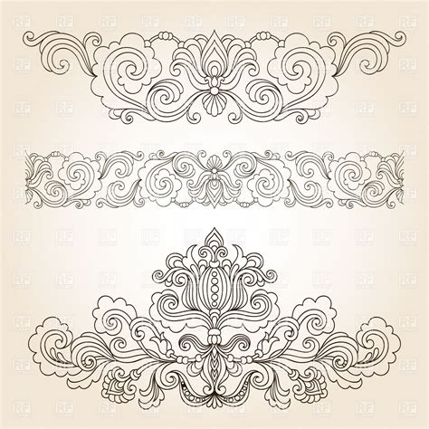 retro vintage design elements vector set collection of floral vintage design elements royalty free