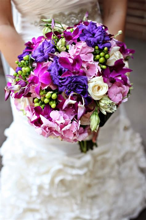 Purple Flowers Wedding by Memorable Wedding Purple Wedding Bouquets